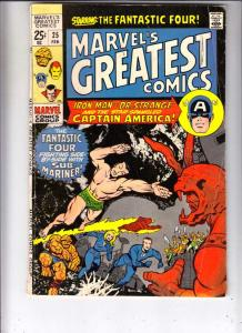 Marvel's Greatest Comics #25 (Feb-70) VG Affordable-Grade Fantastic Four, Cap...