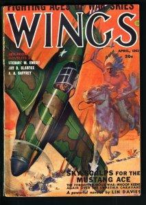 WINGS PULP-APR 1943-INDIAN WARRIOR CVR-FICTION HOUSE FN-