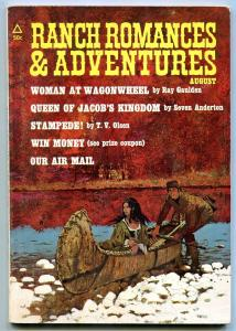 Ranch Romances and Adventures Pulp August 1971- Woman at Wagonwheel