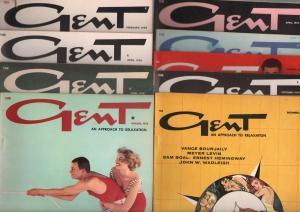 Gent-Vintage Men's Magazine-High Grade Lot of 9 1950's-cheesecake-Faulkner-VF