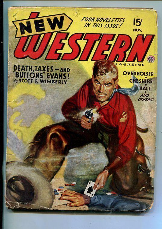 NEW WESTERN-NOV 1945-VIOLENT PULP FICTION-ACE OF SPADES POKER COVER-good/vg