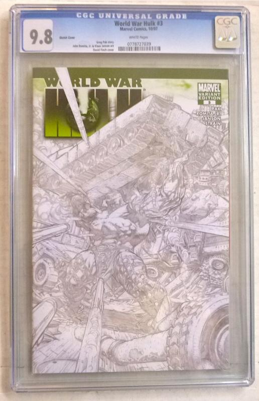 WORLD WAR HULK #3 Sketch Cover Variant (Marvel, 2007) CGC NM/MT 9.8