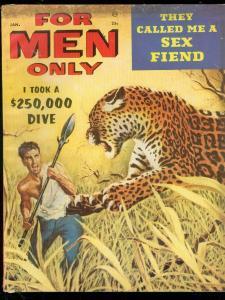 FOR MEN ONLY JAN 1958-LEOPARD COVER-VAMPIRE-HAVANA GIRL FN-
