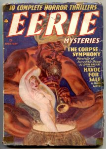 Eerie Mysteries Pulps April 1939- Wild Snake Chamer GGA cover!!