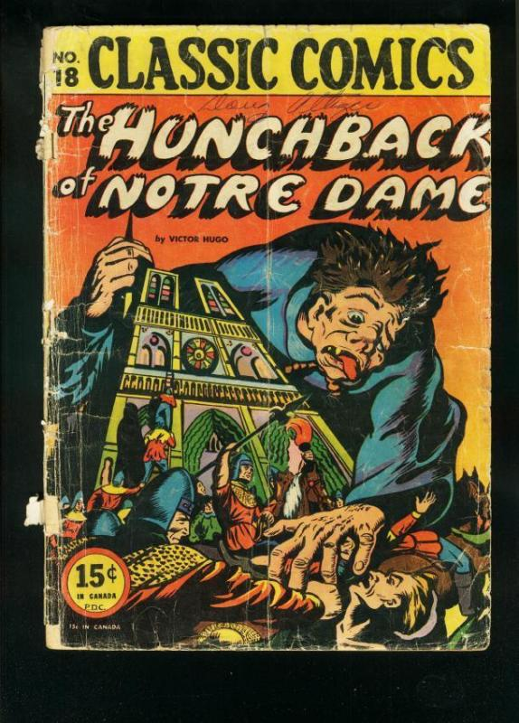 CLASSIC COMICS #18  HRN 18/20-HUNCHBACK OF NOTRE DAME-HORROR COVER-fair FR