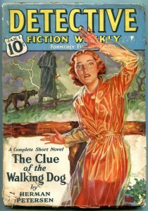 Detective Fiction Weekly Pulp January 1 1938- Clue of the Walking Dog VG