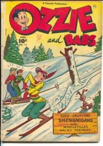 Ozzie and Babs #11 1949-Fawcett-snow ski gag cover-slapstick humor-VG