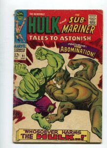 Tales to Astonish 91 VG-    1st Abomination Cover