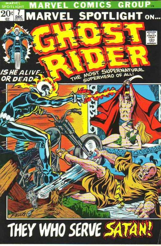 Marvel Spotlight on Ghost Rider 7 strict FN/VF- 7.0 1972  They Who Serve Satan!
