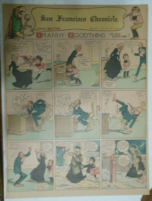 Granny Goodthing Sunday Page by Follett  from 1/16/1910 Full Page Size!