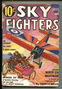 SKY FIGHTERS 7/1937-AIR WAR PULP-THRILLS-LONE EAGLE CROSS OVER-MOTORCYCLE-vg