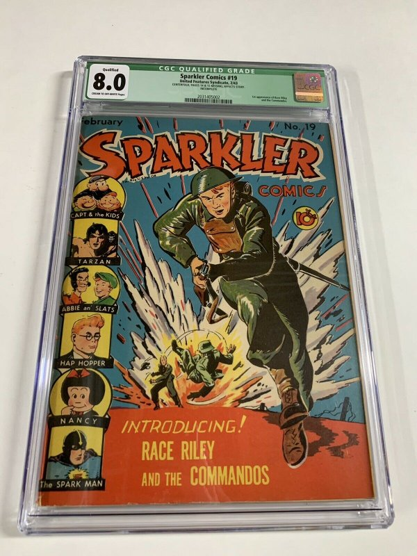 Sparkler Comics 19 United Features Syndicate Cgc 8.0 Q Golden Age