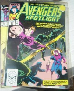 avengers spotlight # 24 NOV 1989 marvel hawkeye and FIREBIRD