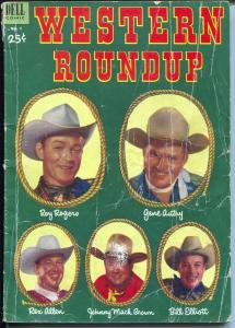 Western Roundup #2 1953-Dell-photo cover-Roy Rogers-Rex Allen-Bill Elliott-G