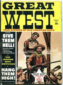 Great West Magazine February 1969- Quantrill's Raiders- Wild Bill Hickok VG