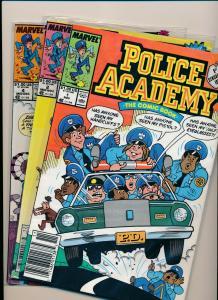 Marvel Comics POLICE ACADEMY The Comic Book 1,2,4 (3 comics) 1989 ~  VF (PF566)