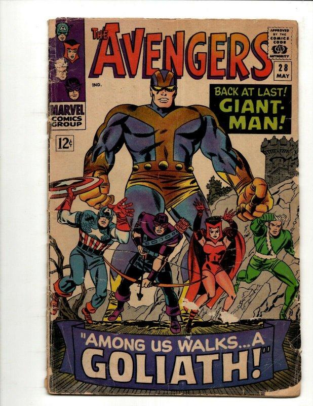 Avengers # 28 VG Marvel Comic Book Hulk Thor Iron Man Captain America BJ1