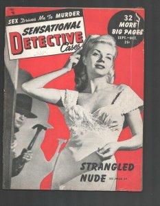 Sensational Detective Cases 10/1949-Violent exploitation-posed photos-Canine ...