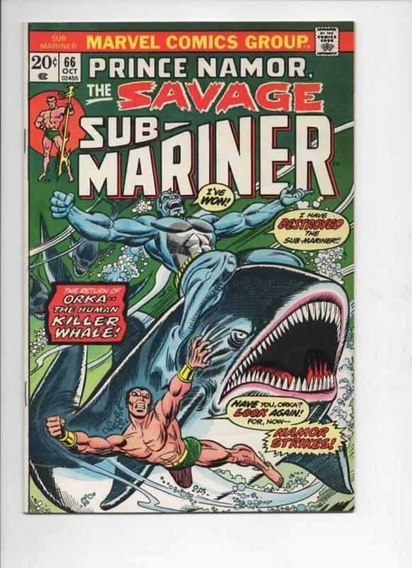 SUB-MARINER #66, FN+, Don Heck, Orka Orca, Killer Whale, Marvel, 1968 1973