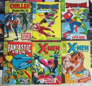 Marvel 1982 British Digest Lot A- 6Diff Chiller Spider-Man Fantastic Four X-Men