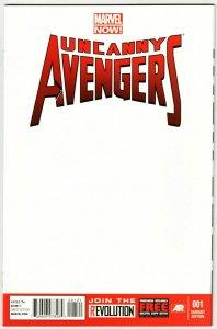 The Uncanny Avengers #1 Blank Sketch Variant Cvr (Marvel, 2012) NM