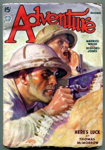 Adventure Pulp October 1937- Maurice Walsh- Bedford Jones FN