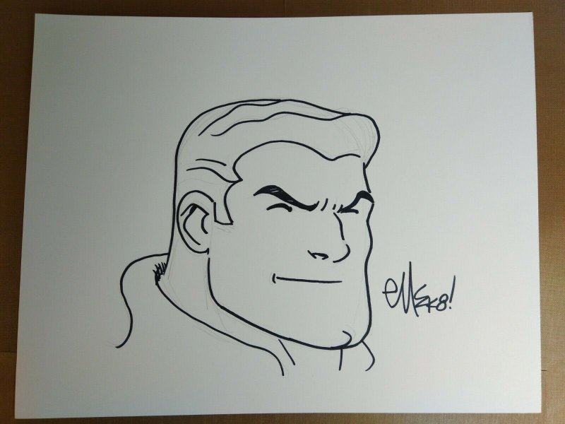Original ED MCGUINNESS Captain Marvel Comic Art Sketch!