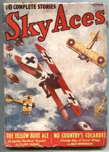 Sky Aces Pulp August 1940- Yellow Boot Ace VG