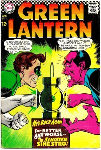 GREEN LANTERN #52 (Apr1967) 4.5 VG+  Sinestro! Gil Kane! Allan Scott Team-Up!