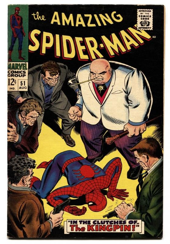 AMAZING SPIDER-MAN #51 comic book 1967-2ND KINGPIN - Silver-Age Marvel