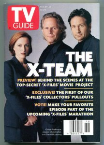 X-FILES X-TEAM TV guide, David Duchovny, Gillian, Nov 15-21 1997, more in store