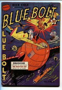 BLUE BOLT V.3 #2 1942-DICK COLE-WILD WAR COVER-WW2-RARE VF