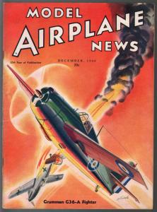 Model Airplane News 12/1940-Grumman C36-A Fighter -WWII era-pix-diagrams-FN