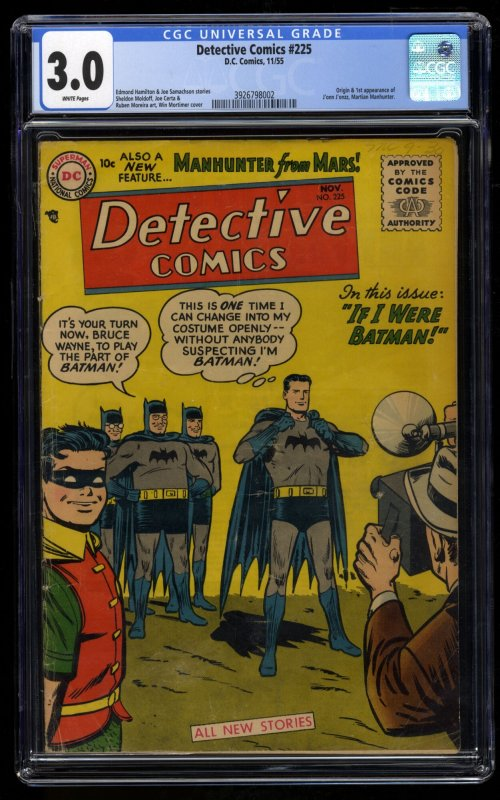 Detective Comics #225 CGC GD/VG 3.0 White Pages 1st Martian Manhunter!