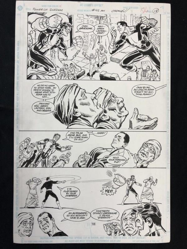 Power of Shazam #45 Original Art Ordway- BLACK ADAM GREEN LANTERN