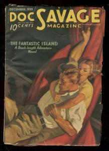 DOC SAVAGE DEC 1935-FANTASTIC ISLAND-PULP-GOOD GIRL ART VG