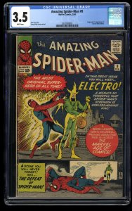 Amazing Spider-Man #9 CGC VG- 3.5 White Pages 1st Electro!