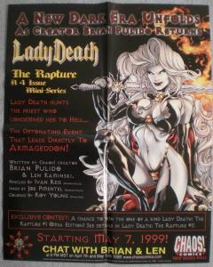 LADY DEATH RAPTURE Promo poster, 16x20, 1999, Unused, more Promos in store