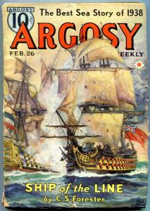 Argosy Pulp February 26 1938-  Captain Hornblower Ship of the Line- Forester VG-