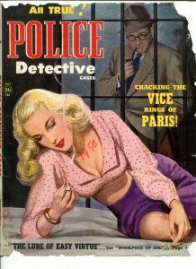 POLICE DETECTIVE CASES COVER PROOF 10/1950 SPICY-HOT BABE IN JAIL-good minus