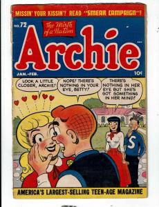Archie # 72 VG/FN Comic Book Jughead Betty Veronica Riverdale Reggie JL1