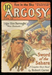ARGOSY JAN 16 1937-SWORD OF SAHARA-EDGAR RICE BURROUGHS VF+