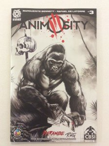 ANIMOSITY #3 -Ltd 50 Copies -Harambe B/W Variant- signed by Mike Rooth w/ sketch