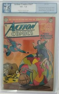 1952 DC~Action Comics #167~PGX 7.5 (VF-)~The Machines of Crime