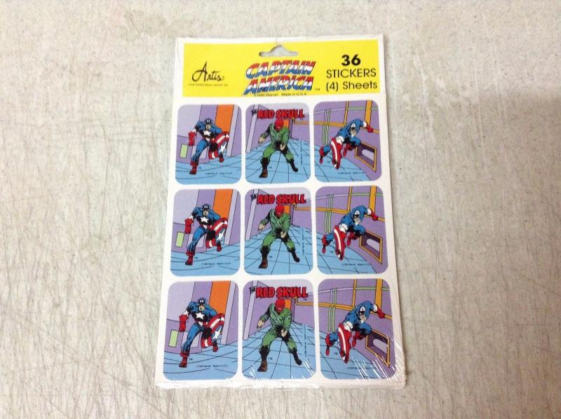 Captain America Artis Stickers SEALED In Package 36 Stickers 4 Sheets 1990 BNT