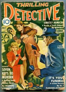 Thrilling Detective July 1942-Safe Cracker cover-GT Fleming-Roberts g/vg