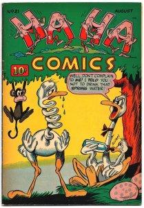 HA HA COMICS #21 (Aug 1945) 5.0 VG/F Great Funny Animals! Hultgren, Wick, DANG!