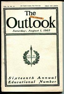 Outlook 8/1/1903-New American Navy-Moravians-pulp format-FN