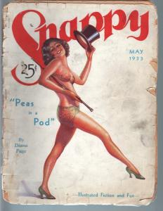 SNAPPY PULP-MAY 1933-SPICY TOP HAT COVER-PIN-UP-RARE G-