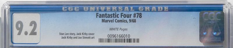 Fantastic Four 78 Sep 1968 CGC NM- (9.2)
